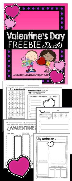 VALENTINE'S DAY FLASH FREEBIE! Six different pages of literacy activities for grades 1-3.  These would be great in a packet for seat work, or used individually for morning work or homework! #valentinesday #valentinesactivities