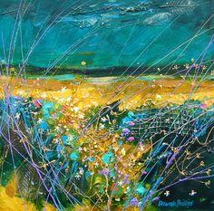 Deborah Phillips_Harvest Moonrise_Hand Embellished Signed Limited Edition_5x5 l Scottish Contemporary Art