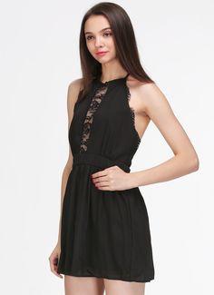 Halter vestito in lace-nero 12.80