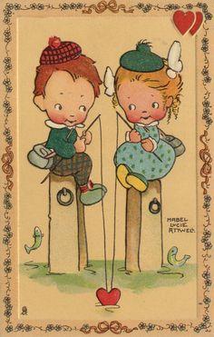 Instant download Beautiful Mabel Lucie Attwell reproduction print; hengelen maar...............           lb xxx.