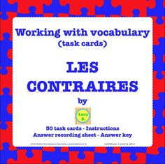 """$ """"Les Contraires"""" Task Cards - WITH and WITHOUT QR codes. Have you ever used QR codes in your classroom?"""