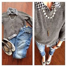 gingham button-up, sweater and layered jewelry with jeans and flats