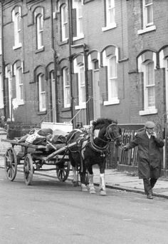 Rag-and-bone man, with horse and cart, once a common sight on British streets. He would call out Rag n' Bone Rag n' Bone and collect just those things and lived off the proceeds he could sell on. They still exist but now use vans and lorries