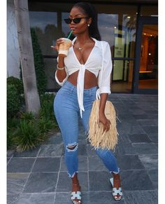 Cute Casual Outfits, Chic Outfits, Summer Outfits, Girl Outfits, Fashion Outfits, Fashion Top, Fashion Night, Fashion Spring, Black Women Fashion