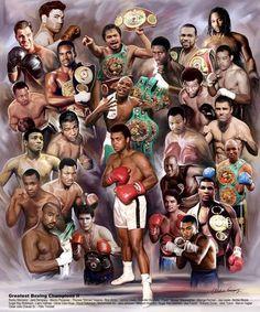 Legends of Boxing Print Ali Pacquaio Leonard Duran Hearns Tyson Lennox Lewis Roy Jones Jr Mohamed Ali, Lennox Lewis, Archie Moore, Floyd Patterson, Combat Boxe, Larry Holmes, Boxing Events, Roy Jones Jr, Avengers