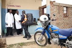 #Example #ZoomChange Riders for Health courier, Piero Sakala (center), delivers blood samples sourced from rural health centers to a medical lab in Zambia's Chadiza district. After testing, the results are transported back to clinics along the country's southeastern border, enabling medical staff to more effectively diagnose diseases (including HIV and tuberculosis) and treat patients. #CreativeHealthDelivery