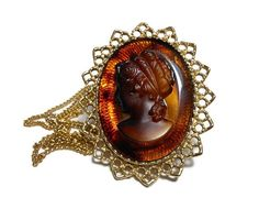 Glass cameo pendant brooch, carved glass root beer brown cameo necklace pin…