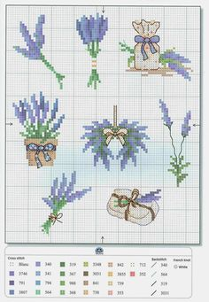 A few cross stitch patterns dedicated to lavender Small Cross Stitch, Cross Stitch Flowers, Cross Stitch Designs, Cross Stitch Patterns, Cross Stitching, Cross Stitch Embroidery, Embroidery Patterns, Hand Embroidery, Lavender Bags