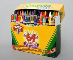 Crayola crayons, 64 colors and SHARPENER ON THE SIDE boo yah