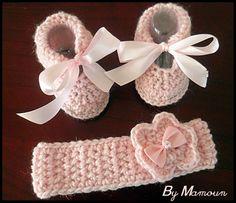 """Chaussons et bandeau crochetés mains """"Douceur Rose Pale"""" : Mode Bébé par mamountricote"""