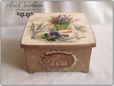 """Купить Чайная шкатулка """"Лаванда"""" - чайная шкатулка, чай, шкатулка для чая, лаванда, Декупаж"""