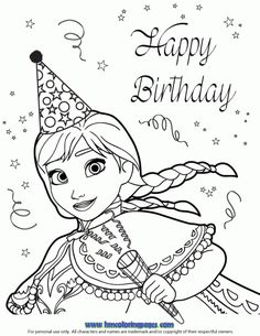 Happy Birthday Coloring Pages Disney Awesome 24 Best Disney Frozen Birthday Coloring Pages Images On Frozen Coloring Sheets, Disney Coloring Pages, Coloring Pages For Kids, Coloring Books, Kids Coloring, Disney Frozen Birthday, Frozen Party, Teacher Birthday, Birthday Ideas