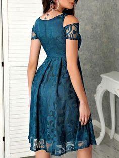 Digital Print Cold Shoulder Mesh Pleated Dress