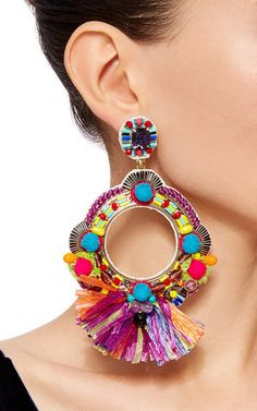 These **Ranjana Khan** earrings feature an open circle drop design embellished with beaded and fabric details with raffia fringe trim.