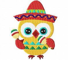 Cinco De Mayo Owl 2 4X4: Breezy Lane Embroidery