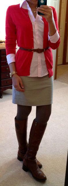 light pink + red cardi
