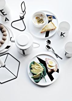 Beautiful styling by Only Deco Love.  Design Letters plates, cups and teapot with typography by Arne Jacobsen.: