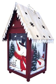 Hand painted Holiday Candle Holder Lanterns. Happy Snowmen, Snow-laden Fir Trees, and Tumbling Snowflakes portrayed in these Handmade Keepsakes. Hand-made from Glass, Wood, & Tin.  Vintage look Christmas Decor.