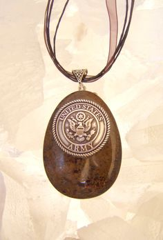 US ARMY NECKLACE Pendant, Antique Silver Concho sent in Bronzite Stone by argenesgems on Etsy