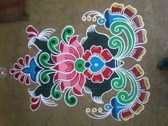 Rangoli Designs - Art of India Indian Rangoli Designs, Colorful Rangoli Designs, Rangoli Ideas, Rangoli Designs Images, Beautiful Rangoli Designs, Mhndi Design, Latest Rangoli, Rangoli Colours, Free Hand Rangoli