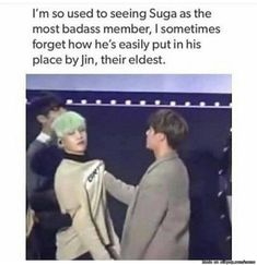 Suga: *curses* Oh no. Jin: Excuse me sir? Suga: Nothing Jin hyung. Jin: Better be nothing I can still beat your ass. Bts Suga, Bts Bangtan Boy, K Pop, Shinee, V And Jin, Kdrama, Les Aliens, Cypher Pt 4, Bts Memes Hilarious