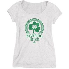 adidas Notre Dame Fighting Irish Women's White Originals Emerald Isle Classic Dublin Charmed Scoopneck Burnout T-Shirt