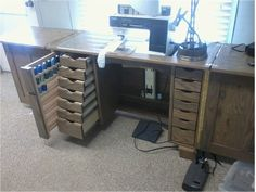 sewing cabinets made with solid wood, sewing, quilting, embroidering. Sewing Room Furniture, Furniture Projects, Furniture Plans, Sewing Machine Repair, Sewing Machine Tables, Sewing Tables, My Sewing Room, Sewing Rooms, Quilt Storage