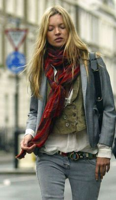 Kate Moss wearing grey / London March 2005