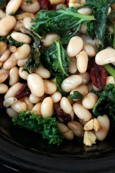Warm White Bean and #Kale #Salad with Dried Cranberries and Cashews
