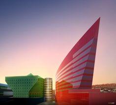 Red Building - California, USA Cesar Pelli, Fred W. Clarke, Rafael Pelli www.pcparch.com via archdaily.com  for #form #color