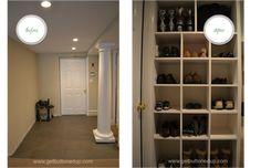 basement entrance - organize shoes with a built in shoe rack