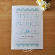 Wedding Invitation - Vintage Lovebirds & lace