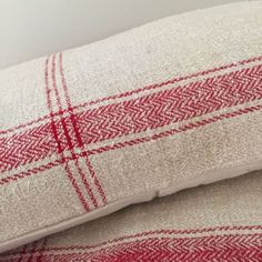 Cushion covers from wonderful home loomed vintage Romanian Hemp fabric 3 available distribution of the vertical stripes varies To fit with 60 x 40 cm Hemp Fabric, Linen Fabric, Red Plum, Grain Sack, Vertical Stripes, Cushion Covers, Upholstery, Cushions, Antiques