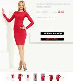 Herve Leger Signature Essential Long Sleeve Cocktail Dress Redd – only $219