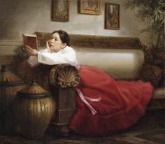 """The Reader. Thomas Reis (American). Oil on canvas. """"I can't remember a time when I wasn't interested in art. Before starting kindergarten, my mother gave me a small paperback filled with work by the Masters. I made numerous, humble attempts to copy the images - my first art training. Since those early years, my interests have rarely deviated."""""""