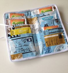Fabric teabag wallet handmade gift for mums linen by drawastring