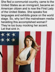 First Lady Melania Trump. I love her strength, courage, honesty and kindness. She is a wonderful First Lady. Liberal Logic, First Lady Melania Trump, Melania Trump Model, Conservative Politics, Our President, We The People, Memes, Nevada, Funny