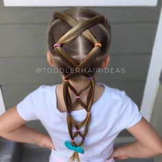 Just a friendly tip to try reusing your part-lines from yesterday's style, it makes styling so so easy! I cut out the elastics, smooth the hair, and re-style in a slightly different way! I wash my kids' hair on Tuesday, Thursday, and Sunday, which gives me a couple days to reuse those lines...or just rejoice on days that I'm able to do nothing and have 2nd day hair Cute little bow from @jaebirdbows!