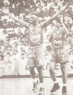 ... with Al Solis looks for his celebration in action of Game 4 of the 1992  PBA Third Conference Finals at The PSC-NASA c63bd74cc