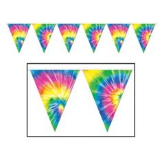 Our Tie Dyed Pennant Banner is a colorful decoration to hang at your or party. This pennant banner is made out of plastic and can be used indoors and outdoors. Size: wide x long 12 pennants per banner All-weather poly material Tye Dye, Fête Tie Dye, Tie Dye Party, 60s Party Themes, 60s Theme, Party Ideas, 70s Party Decorations, Birthday Decorations, Hippie Birthday Party