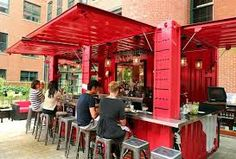 Boston restaurant and bar in a  modified shipping container painted bright red