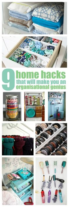 Life Hacks These 9 home hacks that'll made you an organisation genius are AWESOME! I'm so happy I fo Organisation Hacks, Organisation Ideas For The Home, Household Organization, Storage Organization, Organize Your Life, Organizing Your Home, Organizing Ideas, Organising Tips, Life Hacks