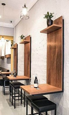 Coffee Shop Interior Design Ideas For Small Cafe Etagere Design, Deco Restaurant, Restaurant Seating, Restaurant Ideas, Restaurant Counter, Regal Design, Coffee Shop Design, Interior Design Coffee Shop, Small Coffee Shop