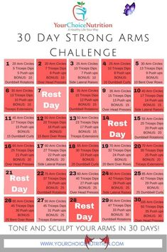 30 Day Strong Arms Challenge - Your Choice Nutrition  <br> Arm Workout Challenge, Push Up Challenge, 30 Day Workout Challenge, Challenge Ideas, Challenge Group, Arm Challenge 30 Day With Weights, 30 Day Fitness Challenge, Healthy Eating Challenge, Thigh Challenge