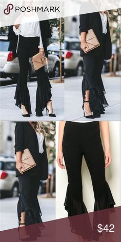 247492e060d Black chic Pants These black pants are fabulous with a fitted waist playful  ruffled hem pants