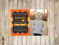 Loving this version of the Pumpkin patch birthday invitation with photo!
