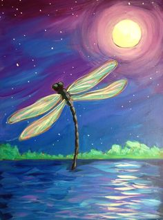 Dragonfly painting with moon and pretty reflections on the water. Beginner painting idea.