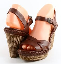 ENZO ANGIOLINI GREYTI Brown  Leather Designer Sandals Wedges 8.5 M | Clothing, Shoes & Accessories, Women's Shoes, Sandals & Flip Flops | eBay!