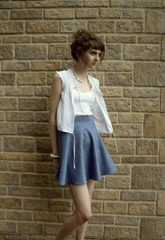 Blue chambray circle skirt