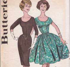 Mad Men Day and Party dress 2 skirt options and sleeve options Butterick 9566 size 16 Bust 36 1960s uncut sewing pattern. $19.00, via Etsy.